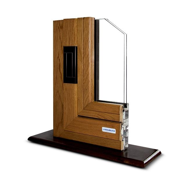 Infisso in alluminio legno apertura anta 180°